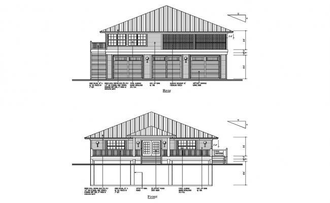Single Floor House Elevation Design In DWG File