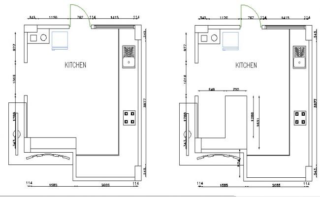 Kitchen Design With Detail Dimension In Dwg File