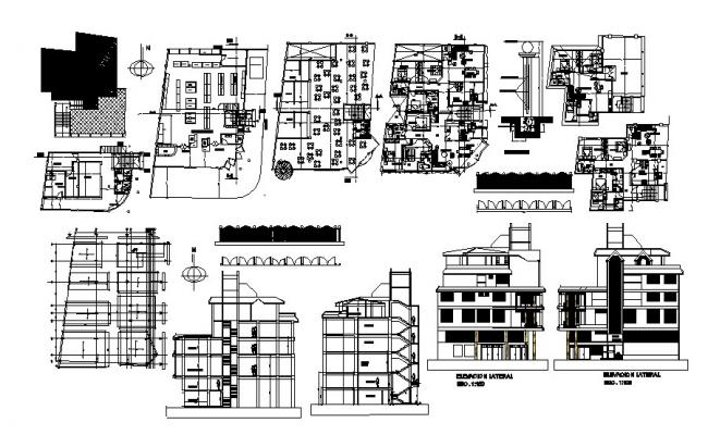 Design of the multipurpose building with elevation and section in dwg file