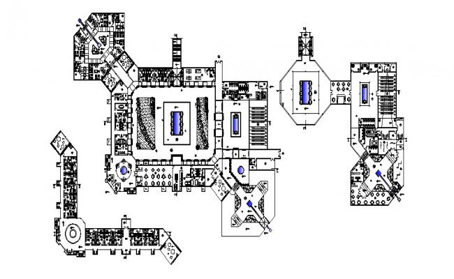 Design of the resort with a detail dimension in AutoCAD