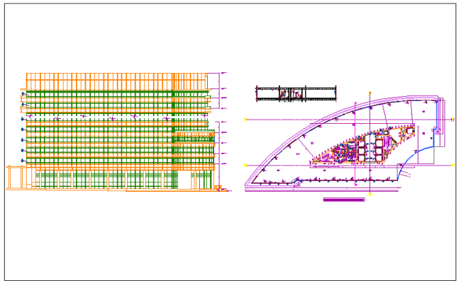 Design plan layout detail view of commercial structure dwg file