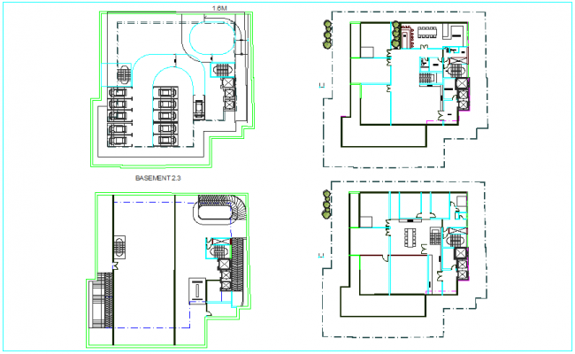 Design view of basement floor plan view for apartment building dwg file