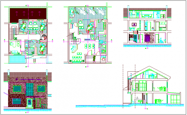 view of dental clinic with plan,elevation and section view dwg file