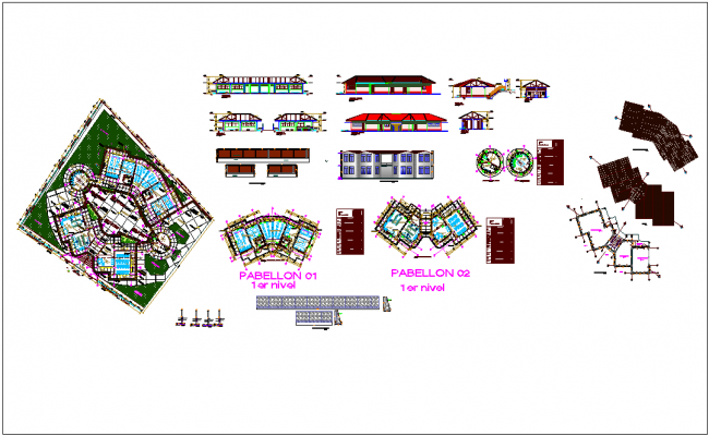 Design view of industrial plant - floor plan,elevation & sectional view dwg file
