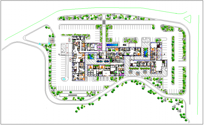 Design view of medical center with landscape view dwg file