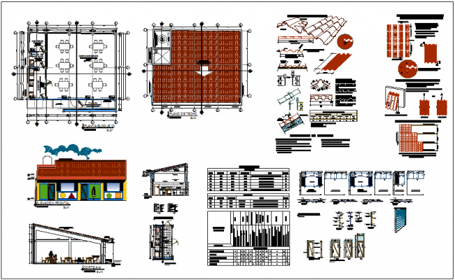 Design view of restaurant with view of tile and door and window view dwg file