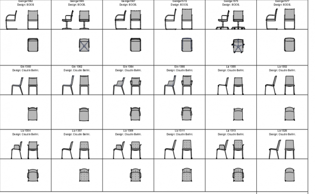Designer chairs plan and elevation detail dwg