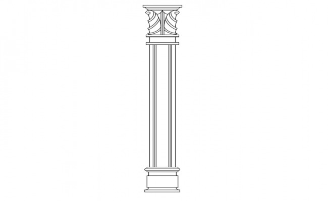 Designer column view with part of interior view dwg file