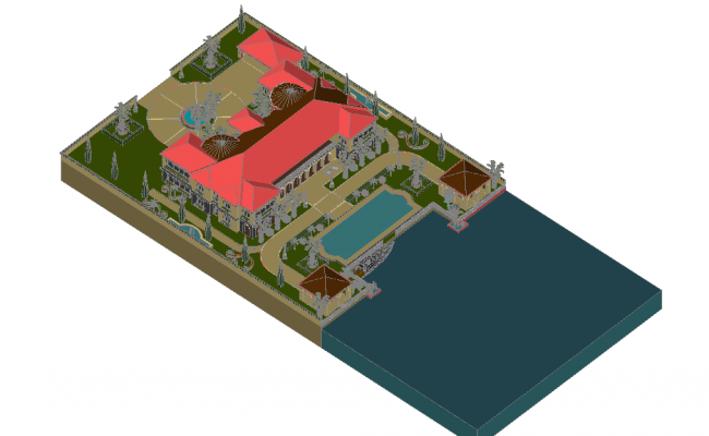 Designer house on beach with architectural view in 3d dwg file