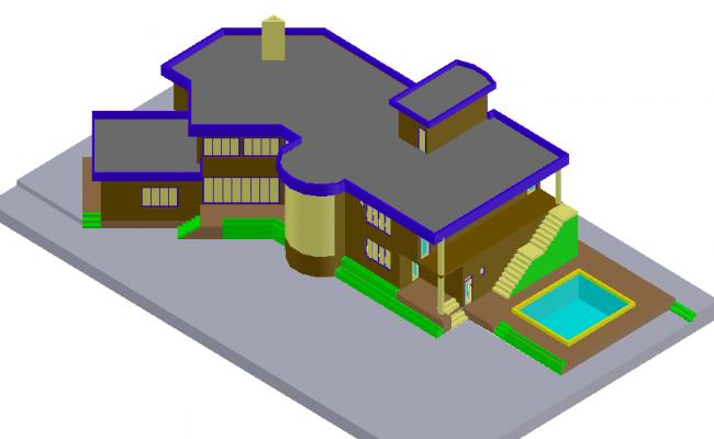 Designer villa 3d model view design dwg file