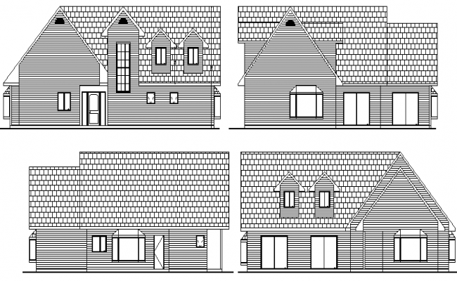 Detach House Architecture Layout and Elevations dwg file