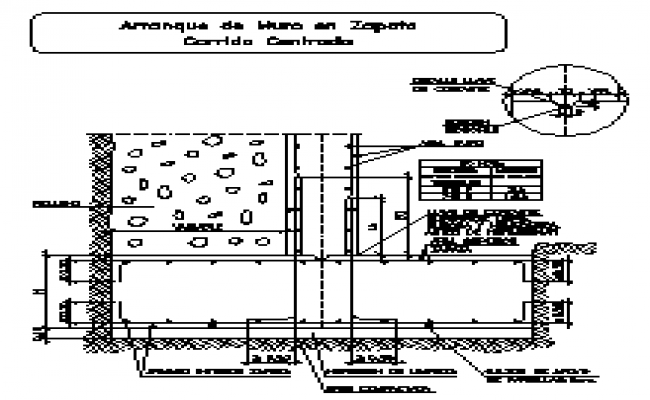 Detail  section drawing of boot shoe wall drawing