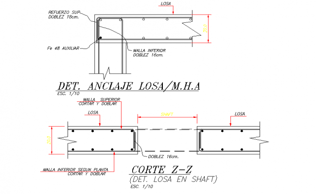 Detail anchor plan section dwg file