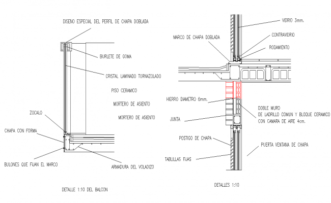 Detail balcony section dwg file