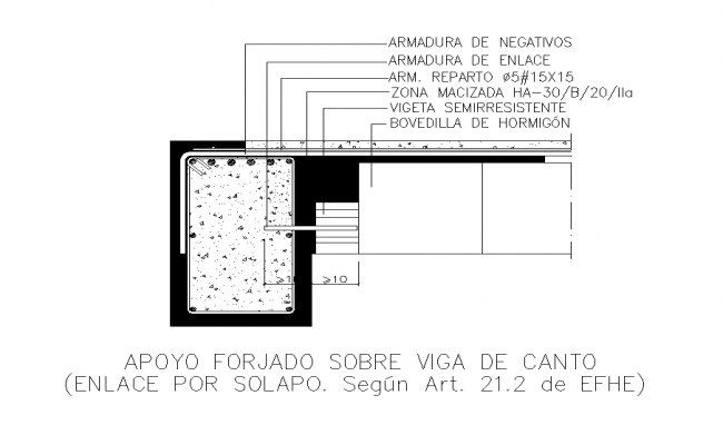 Detail beam structure sectional layout 2d view autocad file