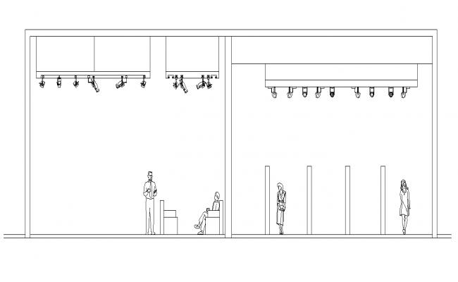 Detail building entrance section 2d view layout file