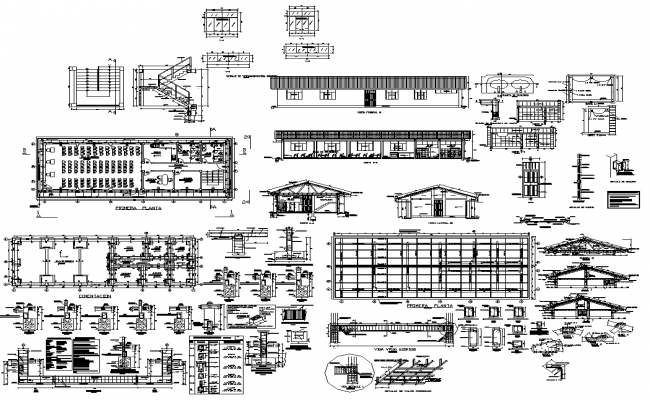 Detail building structure and different construction units 2d view layout dwg file