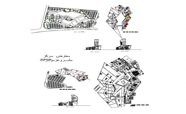 Detail building structure elevation and plan 2d view layout file