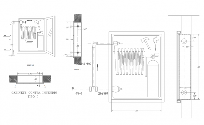Detail cabinet class ii cad drawing