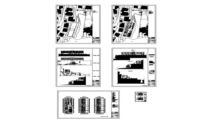 Detail college building elevation and plan 2d view layout autocad file