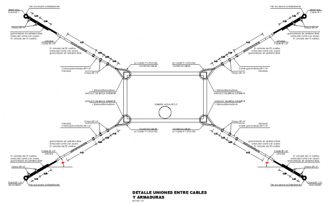 Detail connections between cables dwg file