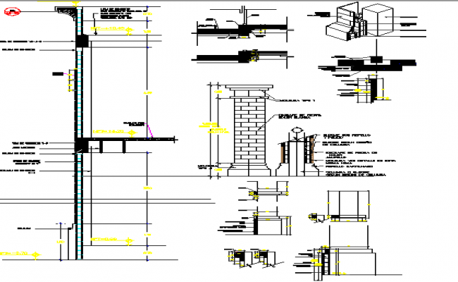 Detail construction modulating of termination in columns dwg file