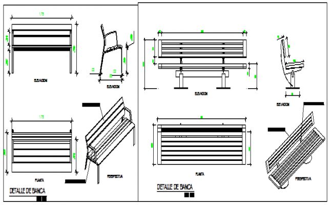 Detail design drawing of benches drawing