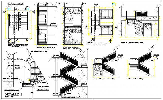 Detail design drawing of stair case design drawing