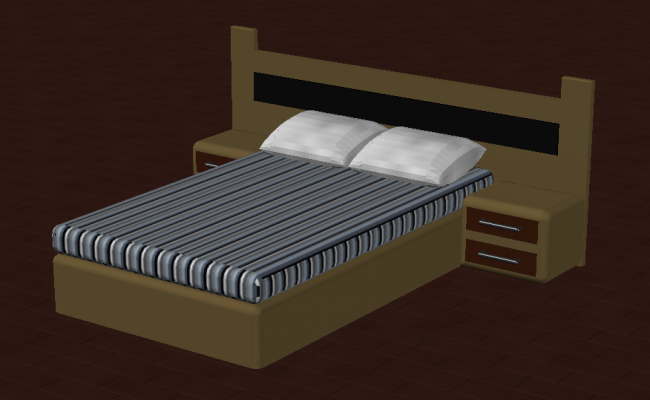 Detail double bed structure CAD furniture 3d model autocad file