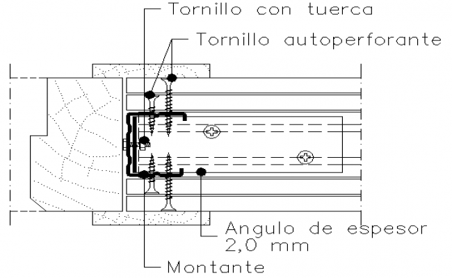 Detail drawing fitting of  door frame and plaster panel block