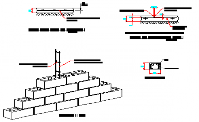 Detail drawing o castles-anti-seismic column perspective view