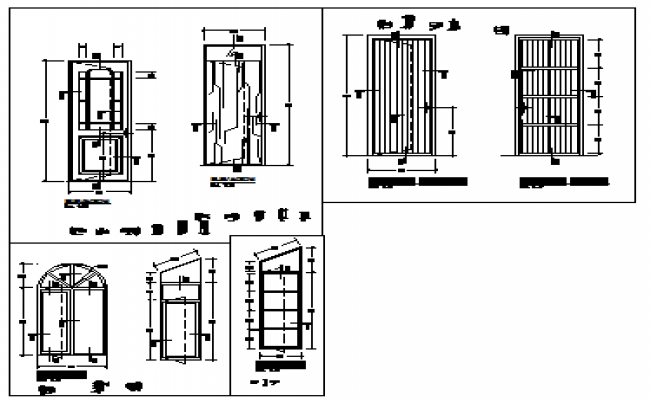 Detail drawing of arch type doors design drawing