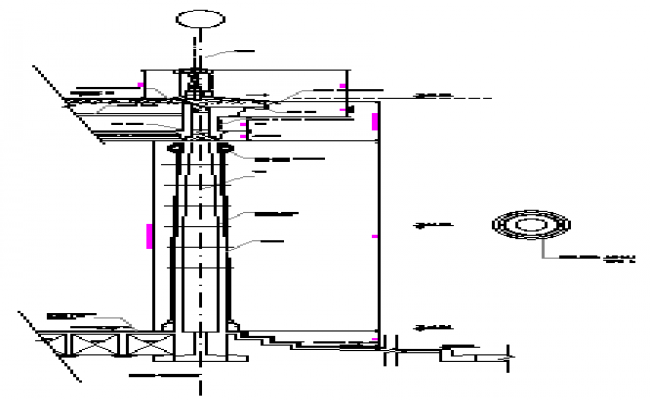 Detail drawing of base of shaft and capital design drawing