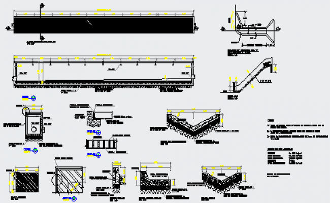 Detail drawing of rain water drainage in roads design drawing