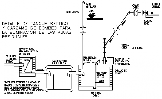 Detail drawing of septic tank design drawing