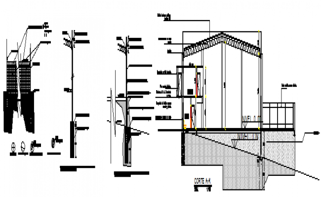 Detail drawing of structure detail of house design