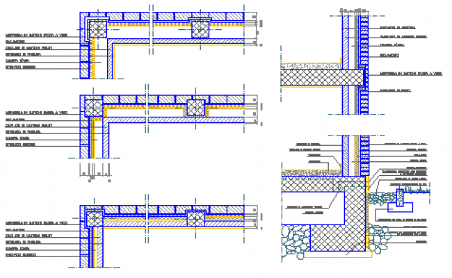 Detail drawing of various types wall of bricks design drawing