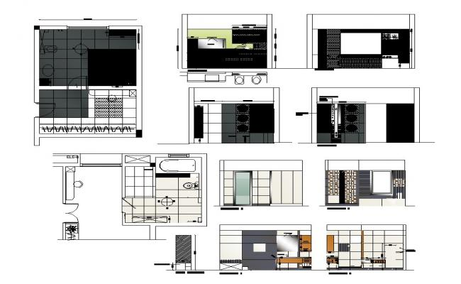 Detail elevation, section and plan detail of sanitary toilet 2d view layout autocad file
