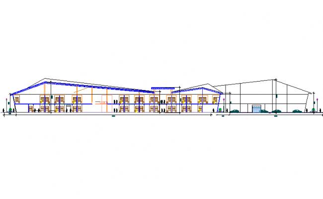 Detail elevation Retail market dwg file