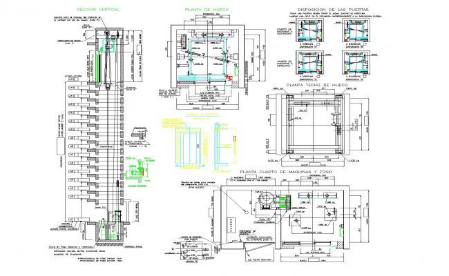 Detail elevator plan autocad file
