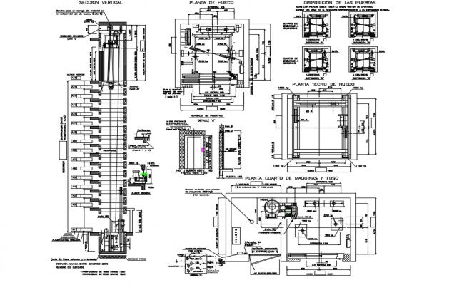 Detail elevator with engine room adjacent dwg file