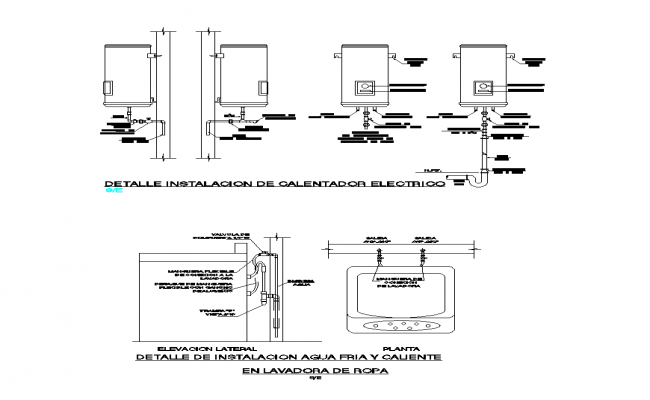 Detail heater and washer CAD blocks 2d view autocad file