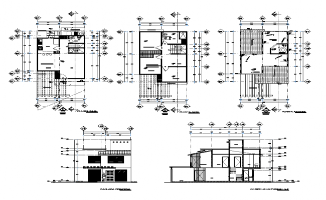 Detail housing building elevation, section and elevation 2d view layout file