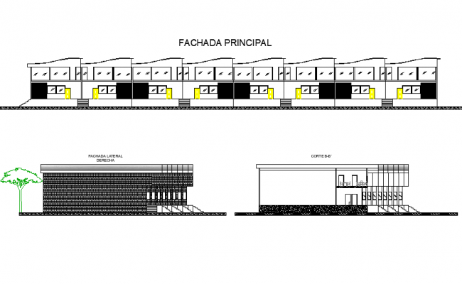 Detail in elevation and section supply center dwg file