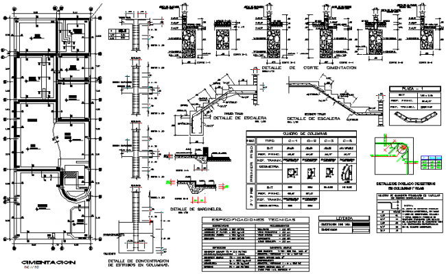 Detail in foundation plan and section detail dwg file