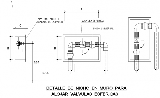 Detail in wall to accommodate spherical valves plan