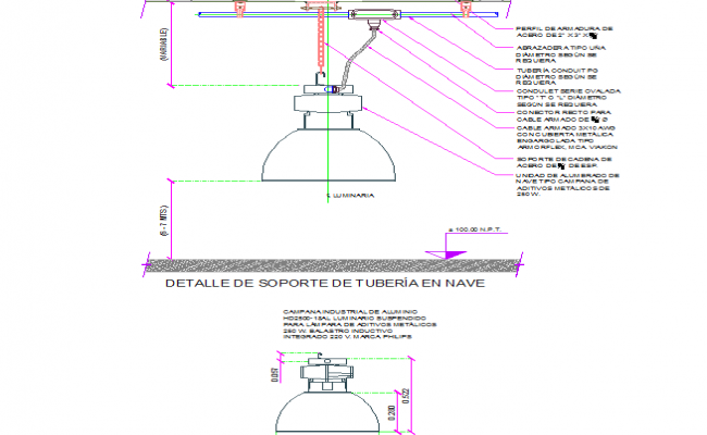 Detail lighting and warehouse support dwg file
