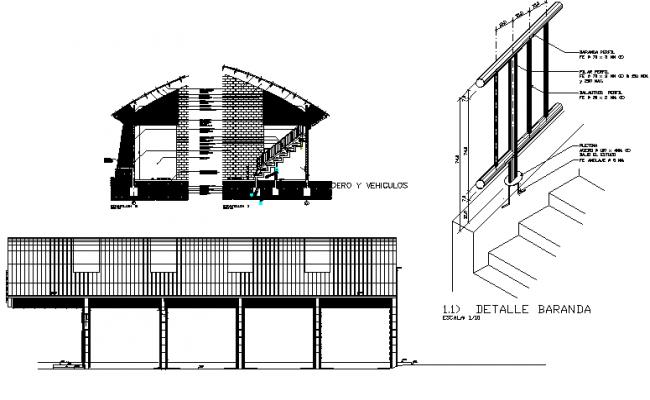 Detail of baranda dwg file