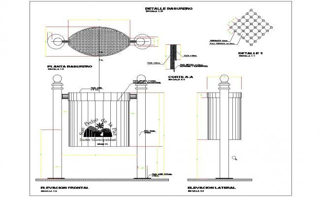 Detail of basket garbage