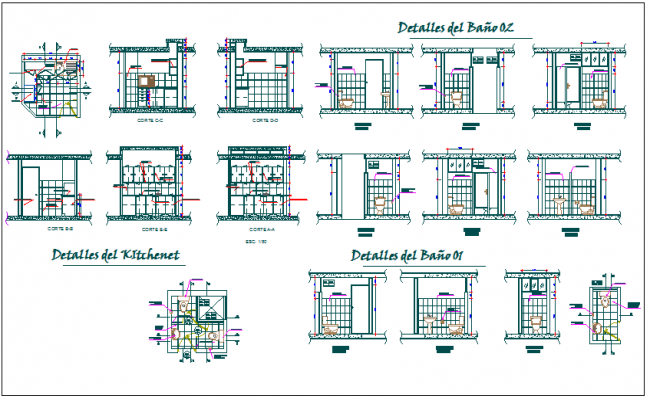 Detail of bathroom and washroom dwg file
